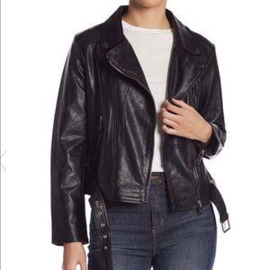 Elodie   Black Faux Leather Moto Jacket   xs